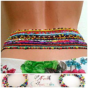 ieftine Bijuterii de Corp-Lanț Talie Έθνικ Modă Pentru femei Bijuterii de corp Pentru Cadou Plajă Tropical Plastice Țesătură Auriu 7pcs