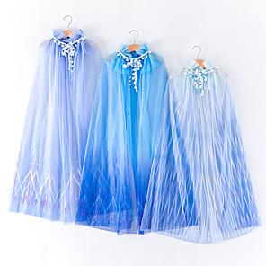 ieftine Costume film & teme TV-Prințesă Elsa Costume Cosplay Manta Fete Cosplay de Film Halloween Albastru / Albastru Închis / Albastru Deschis Manta Zuia Copiilor Mascaradă Tul