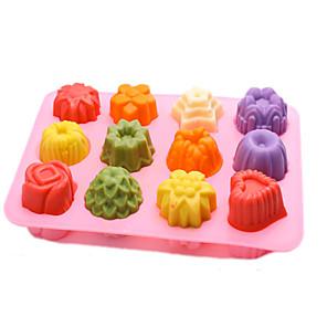 ieftine Ustensile & Gadget-uri de Copt-12 grilaj silicon fabricant de gheață mucegai mucegai de ciocolată tavă creativă trandafir / inimă / floare / rotundă / pătrată în formă de cub de gheață formă de tort