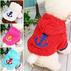 povoljno Odjeća za psa i dodaci-Mačka Pas Hoodies Mornarski Ugrijati Zima Odjeća za psa Obala Crvena Plava Kostim Velvet XS S M L XL