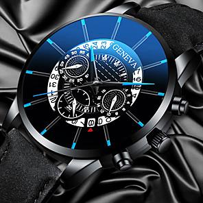ieftine Ceasuri Curele din Piele-Bărbați Ceas Elegant Quartz Stil modern Stl minimalist Calendar Piele Negru Analog - Negru / Argintiu Negru+Auriu Negru / Galben Un an Durată de Viaţă Baterie / Gravură scobită / Mare Dial