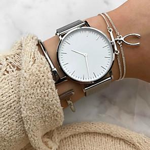 ieftine Cuarț ceasuri-Pentru femei Ceas de Mână ceas de aur Quartz Casual Cronograf Oțel inoxidabil Negru / Argint / Roz auriu Analog - Negru și Auriu Roz auriu Negru / Argintiu Un an Durată de Viaţă Baterie