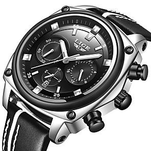 ieftine Ceasuri Curele din Piele-LIGE Bărbați Ceas Sport Quartz Stil modern Stl Casual Rezistent la Apă Piele Negru Analog - Negru / Argintiu Negru+Auriu Negru / Oțel inoxidabil / Iluminat