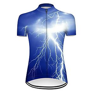 ieftine Ceasuri Damă-21Grams Pentru femei Manșon scurt Jerseu Cycling Nailon Poliester Albastru #D Fulger Gradient Bicicletă Jerseu Topuri Ciclism montan Ciclism stradal Respirabil Uscare rapidă Rezistent la Ultraviolete