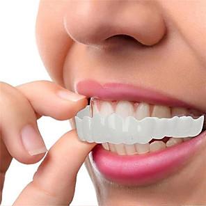 hesapli Banyo Gereçleri-Silikon diş beyazlatma diş kapak diş parantez simülasyon protez üst alt diş set mükemmel gülümseme diş