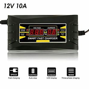 Недорогие Автомобильные зарядные устройства-12v 10a 110v-240v автомобильное зарядное устройство смарт-зарядное устройство для быстрой зарядки подходит для мотоцикла жк-дисплей автозапчастей