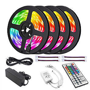 ieftine Benzi Lumină LED-ZDM® 20m Bare De Becuri LED Rigide 600 LED-uri 5050 SMD 10mm Lampă cu 4 LED-uri 5M LED 1 44 Controlul telecomenzii 1x 1 până la 4 conector de cablu 1set RGB Ce poate fi Tăiat Auto- Adeziv Faruri LED