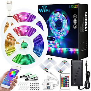 ieftine Benzi Lumină LED-aplicație wifi zdm 50ft 2x7.5m wifi controlat muzică sincronizare schimbare rgb led benzi led cu 24 de chei încorporate de la distanță microfon încorporat mic 5050 rgb led band band kit dc12v