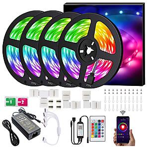 ieftine Benzi Lumină LED-lumini cu bandă led bandă 20g benzi 20m lumină bandă 600leds smd5050 muzică sincronizare schimbare culoare bluetooth controler 24key telecomanda decorare pentru petrecere tv acasă - controlat