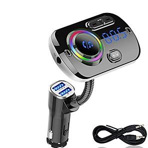 Недорогие Bluetooth гарнитуры для авто-FM-передатчик Bluetooth 5.0 автомобильный комплект громкой связи mp3 музыкальный проигрыватель поддержка TF карты / U воспроизведения дисков Dual USB быстрая зарядка bc49a