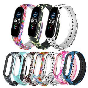 Недорогие Ремешки для часов Xiaomi-гибкий силиконовый браслет ремешок для часов для xiaomi mi band 5 с камуфляжным рисунком сменный ремешок для xiaomi mi band 5
