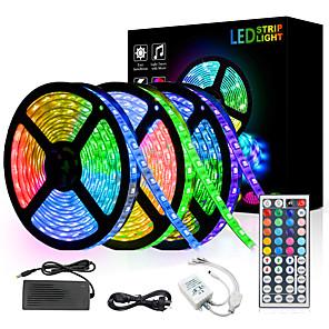 ieftine Benzi Lumină LED-15m Bare De Becuri LED Rigide 450 LED-uri 5050 SMD 10mm RGB Telecomandă Ce poate fi Tăiat Intensitate Luminoasă Reglabilă 12 V / De Legat / Potrivite Pentru Autovehicule / Auto- Adeziv / IP44
