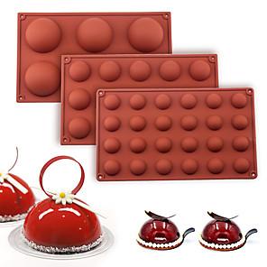 ieftine Ustensile & Gadget-uri de Copt-sferă bilă mucegai silicon pentru tortă patiserie copt ciocolată bomboane fondant copt formă rotundă desert desert mucegai decorare
