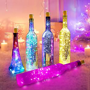 ieftine Lumini Nocturne LED-6pcs 2m lumini sticla de vin butoane buton cu baterie ghirlandă de zână Crăciun leduri lumini pentru decorarea nunții petrecere de Halloween cu baterie