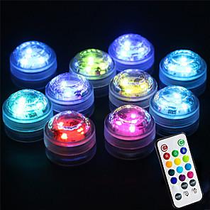 ieftine Aplice de Exterior-10pcs 2 W Lumini Subacvatice Rezistent la apă Controlat de la distanță Senzor cu Infraroșii Multicolor Baterii alimentate Lumina Exterior Piscina Curte 3 LED-uri de margele Ziua îndragostiților
