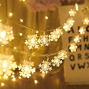 ieftine Fâșii Becurie LED-5m 50led fulg de zăpadă leduri cu șnur lumină cu baterie lumină de zână living în aer liber brad de Crăciun Halloween decorare nunta lumina fără baterie