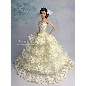 ieftine Haine Păpușă Barbie-Accesorii pentru papusi Haine de Păpușă Rochie de papusa Rochie de mireasă Petrecere / Seară Nuntă Rochie De Bal Satin / Tul Tul Dantelă Satin Pentru păpușă de 11,5 inci Jucărie făcută manual pentru