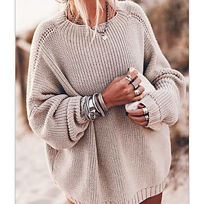 Women's Solid Colored Pullover Long Sleeve Oversized Sweater