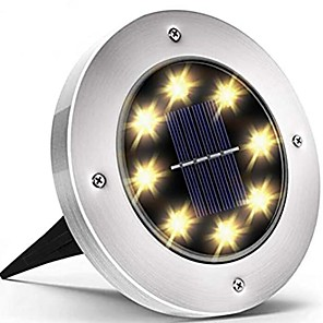 ieftine Proiectoare LED-lumini solare de grădină în aer liber 8 lumini cu discuri impermeabile iluminare peisaj în aer liber pentru terasa gazon terasa curte punte pasarelă inundație