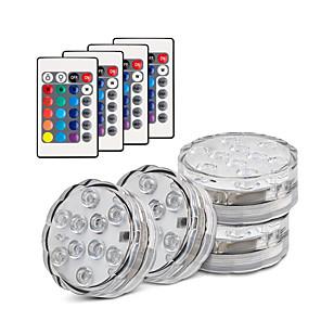 ieftine Aplice de Exterior-total link 4x 2x 1x smd5050 lumini led submersibile ip68 10 led rgb lampa de pescuit subacvatic cu baterie funcționată 24 de taste telecomandă wireless multi-color pentru vază piscină acvariu decor