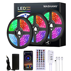 hesapli Konnektörler-Mashang 5 m 10 m 15 m 20 m led şerit işıklar rgb led işık şerit müzik sync led şerit 2835 smd renk değiştirme led şerit işık ve 40 tuşları uzaktan bluetooth denetleyicisi için yatak odası ev tv arka
