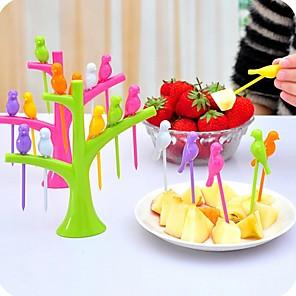 6stk fuglform fruktgaffler hjem dekorasjoner kjøkkenredskap