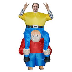 ieftine Halloween és farsangi jelmezek-Clovn Costume Cosplay Costum Care se Umfla Costum haios Adulți Bărbați Cosplay Halloween Halloween Festival / Sărbătoare Material Textil Galben Bărbați Pentru femei Uşor Costume de Carnaval