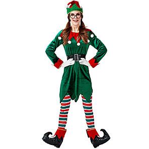 ieftine Costume Moș-Mos Craciun Costume Cosplay Pentru femei Adulți Partidul costumelor Crăciun Crăciun Catifea Vârf / Pantaloni / Mănuși / Centură / Pălărie