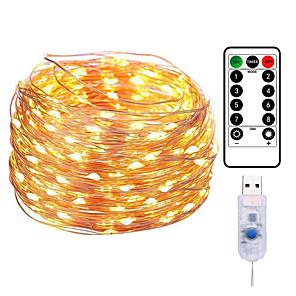hesapli LED Şerit Işıklar-20 M 200LED Bakır Tel Dize Işıkları USB Plug-in Peri Işıkları Uzaktan 8 Modları ile ışıkları Su Geçirmez Uzaktan Kumanda Zamanlayıcı Noel Düğün Doğum Günü Aile Parti Odası sevgililer Günü Dekorasyon