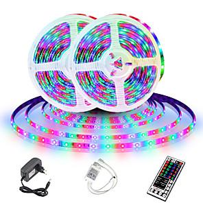 ieftine Tricouri LED-benzi led (2 * 5m) 10m 32.8ft 2835 rgb 600leds 8mm benzi de iluminare a culorii flexibile care se schimbă cu 44 chei ir de la distanță ideal pentru bucătărie de acasă Crăciun tv lumini spate dc 12v