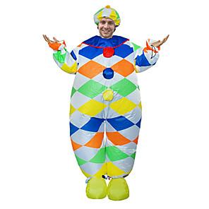 ieftine Halloween és farsangi jelmezek-Clovn Costume Cosplay Costum Care se Umfla Costum haios Adulți Bărbați Cosplay Halloween Halloween Festival / Sărbătoare Material Textil Trifoi Bărbați Pentru femei Uşor Costume de Carnaval