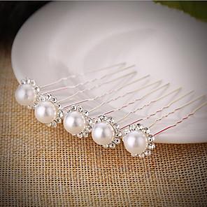 ieftine Bijuterii de Păr-Pentru femei Fete Bețe de Păr Bijuterii de Păr Pentru Nuntă Petrecere / Seară Petrecere de zi de nastere Festival Floare Clasic Imitație de Perle Argilă Aliaj Argintiu 5pcs