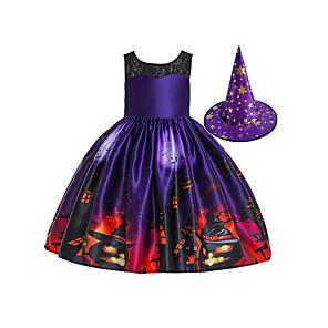 ieftine Halloween és farsangi jelmezek-vrăjitoare Rochii Pălării / Căciuli Pentru copii Fete Halloween Halloween Festival / Sărbătoare Bumbac Poliester Mov Uşor Costume de Carnaval / Rochie / Pălărie / Rochie / Pălărie