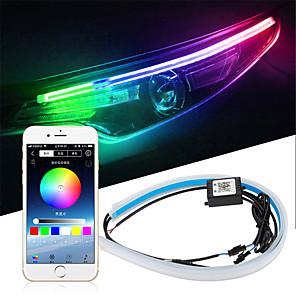 hesapli Gündüz Yanan Işıklar-2 adet Araba Sıralı Akan RGB Gündüz Çalışan Işık DRL APP Çok Renkli LED Işık Şeridi Far için Sinyal Işıkları Açın