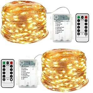 hesapli LED Şerit Işıklar-led dize ışıkları 5m 16.4ft 50 led 2 takım su geçirmez 8 mod uzaktan kumanda zamanlayıcı pırıltı ip65 kısılabilir noel bahçesi partisi kapalı dekor