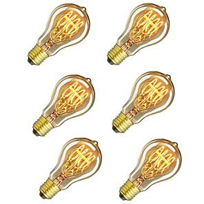 ieftine Becuri Incandescente-6pcs / 4pcs 60 w e26 / e27 a60 (a19) galben cald 2200-2800 k retro / dimmable / decorativ incandescent vintage edison bec 220-240 v