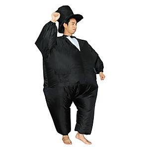 ieftine Halloween és farsangi jelmezek-Magician Costume Cosplay Costum Care se Umfla Costum haios Adulți Bărbați Cosplay Halloween Halloween Festival / Sărbătoare Material Textil Negru Bărbați Pentru femei Uşor Costume de Carnaval