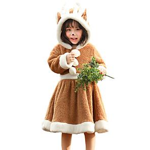 ieftine Costume Moș-Ren Rochii Fete Pentru copii Partidul costumelor Crăciun Crăciun Coral Fleece Rochie