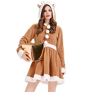 ieftine Costume Moș-Ren Rochii Pentru femei Adulți Partidul costumelor Crăciun Crăciun Coral Fleece Rochie