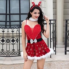 ieftine Costume Moș-Mos Craciun Rochii Pentru femei Adulți Partidul costumelor Crăciun Crăciun Poliester Rochie / Centură / Chiloți / Veșminte de cap / Neckwear