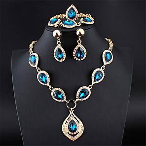 ieftine Brățări-Pentru femei Albastru Cristal Seturi de bijuterii de mireasă briolette Binecuvântat European cercei Bijuterii Albastru piscină Pentru Petrecere / Seară Logodnă 1set