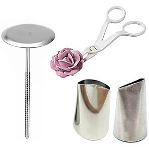 ieftine Ustensile & Gadget-uri de Copt-4 buc / set instrumente de decorare a tortului 2 duză de țevi 1 foarfece de tort pentru instrument de transfer de flori de cremă 1 suport pentru flori de tort