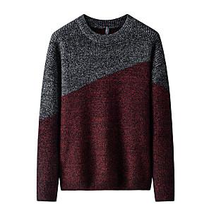 ieftine Bluze de Bărbați și Cardigane-Bărbați Bloc Culoare Plover Manșon Lung Pulover Cardigans Stil Nautic Toamnă Negru Roșu Vin Verde Militar