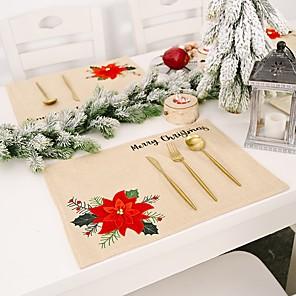 ieftine Șervețele & Inele de Șervețele-4bucuri de lenjerie de pat lenjerie de Crăciun de vacanță contemporană acoperire de masă decorațiuni de masă pentru Crăciun dreptunghiular 46 * 33,5 cm kaki