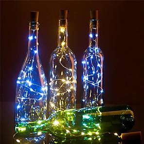 ieftine Tricouri LED-led sticlă de vin lumini forma plută decor bricolaj 2m 20 led 10buc 8buc 4buc 1buc zână colorată șir lumină pentru petrecerea de Crăciun nunta fără baterie