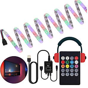 ieftine Benzi Lumină LED-control muzical bandă luminoasă led 1m 2m 3m 4m 5m 2835 rgb smd 54 leduri pe metri tiktok led benzi lumini cu controler 24 chei port usb dc5v