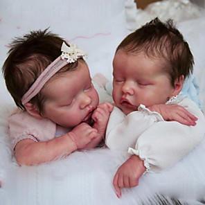 hesapli Barbie Bebek Kıyafetleri-17 inç Yeniden Doğmuş Bebekler Bebek ve Yürüme Evresi Oyuncakları Erkek Bebeklerin Yeniden doğmuş bebek bebek İkizler A Yeni doğan canlı El Yapımı Simülasyon Disket kafa Kumaş Silikon Vinil Giysi ve