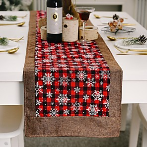 ieftine Șervețele & Inele de Șervețele-ca sărbătoare contemporană husă de masă decorațiuni de masă pentru Crăciun dreptunghiular 180 * 36 cm carouri 1 buc