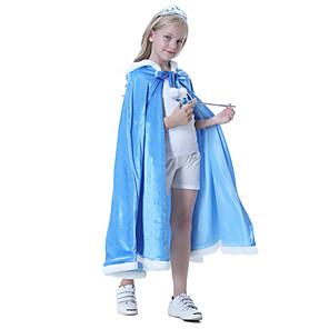 ieftine Costume film & teme TV-Prințesă Elsa Manta Mascaradă Rochie de fete cu flori Fete Cosplay de Film A-Line Slip Albastru Manta Zuia Copiilor Mascaradă Poliester