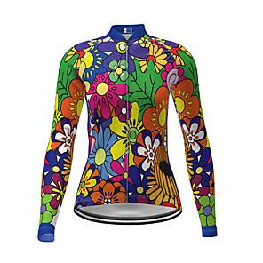 ieftine Mănuși Cycling-21Grams Pentru femei Manșon Lung Jerseu Cycling Iarnă Poliester Verde Noutate Floral / Botanic Bicicletă Jerseu Topuri Ciclism montan Ciclism stradal Uscare rapidă Înapoi de buzunar Sport Îmbrăcăminte